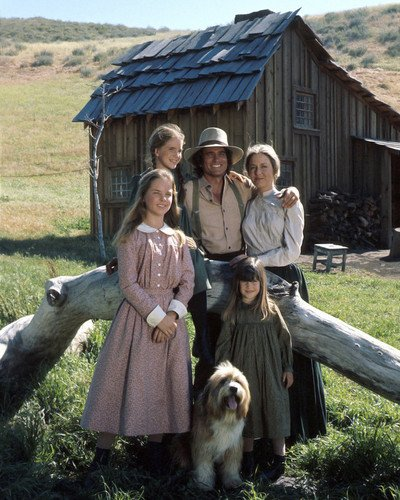 Little House on the Prairie season one cast pose by house 8×10 Promotional Photograph
