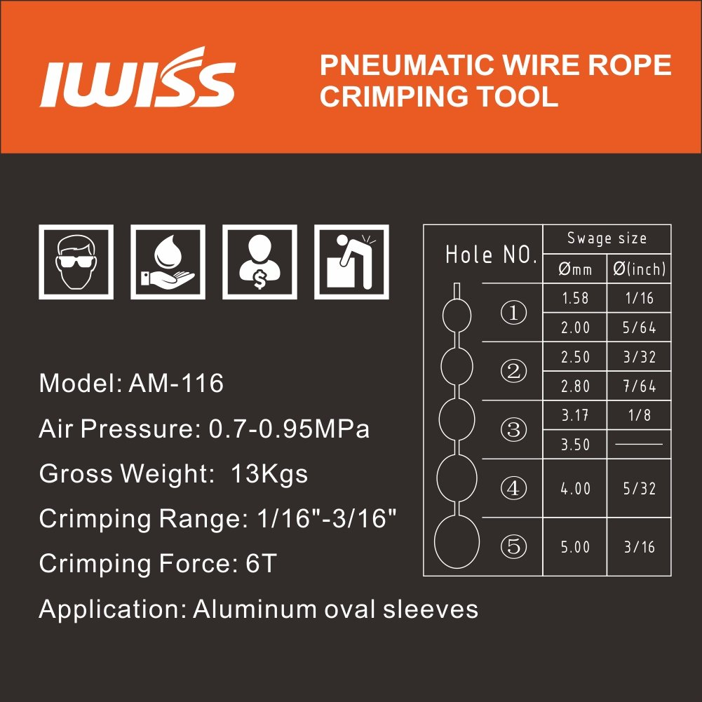 IWISS Wire Rope Swager for Crimping Fishing Lines (Pneumatic Wire ...