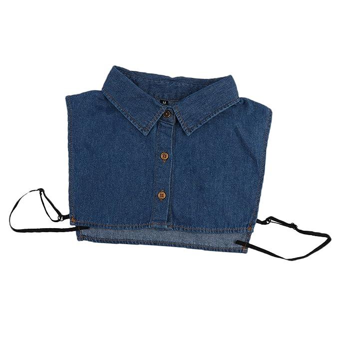 MagiDeal Frauen Kragen Abnehmbare Hälfte Shirt Bluse Weiß Schwarz Denim  Chiffon  Amazon.de  Bekleidung ca8cfacbf3