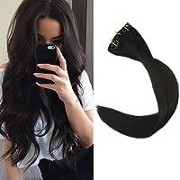 Full Shine 9Pcs 16 Pulgada Straight Full Head Clip in Hair Extensions Extension Sexy Lady Fashion Choice 100 Grams Clip Hair #1B Colour