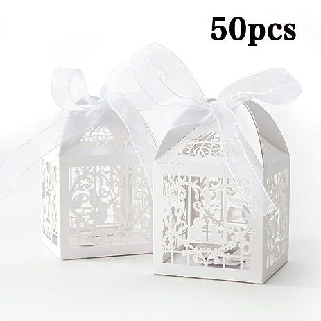 Amazon.com: 50PCS Love Bird Wedding Favor Box Ribbon Candy Boxes ...