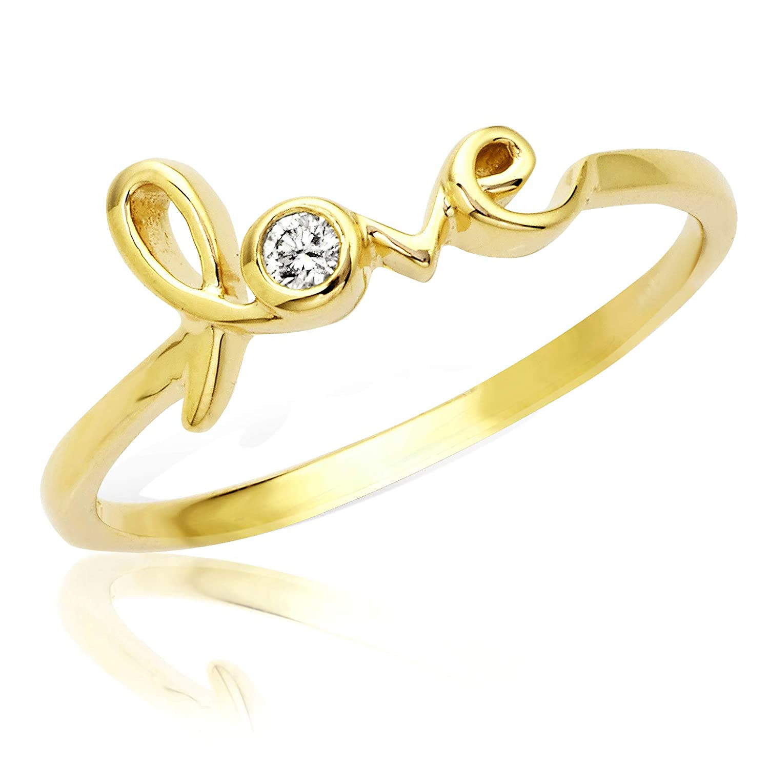 Yellow Gold Ring Designer Diamondlove Ring in 14 Karat sizes 5-9 K ctw LoveBling 0.05 Carat