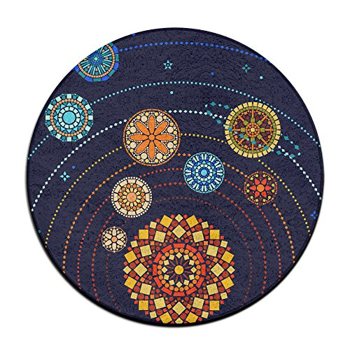 Mandala Style Solar System Round Home Doormat Entrance Entry Way Front Door Mat Ground 23.6 Inch Rugs For Decor Decorative Men Women Office