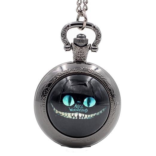 Alicia en el país de las maravillas gato de Cheshire de sonrisa como un gato de Cheshire de cuarzo reloj de bolsillo collar de cadena: Amazon.es: Relojes