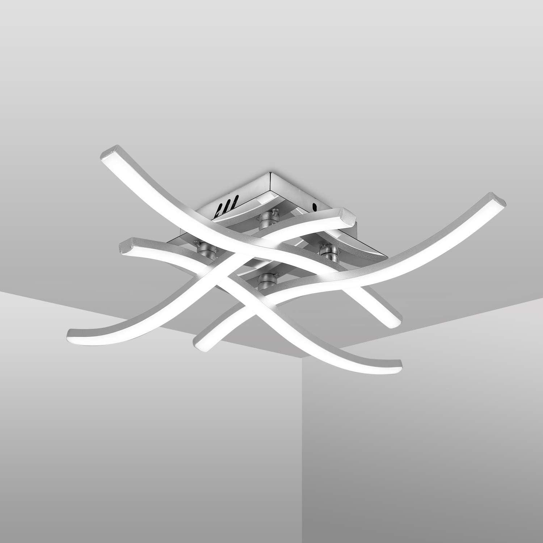 Plafonnier LED, Suspension Luminaire en forme de vague, lumière blanche neutre 4000K, LED intégrées 24W 2000Lm, lustremoderne pour salon ou cuisine, 220V
