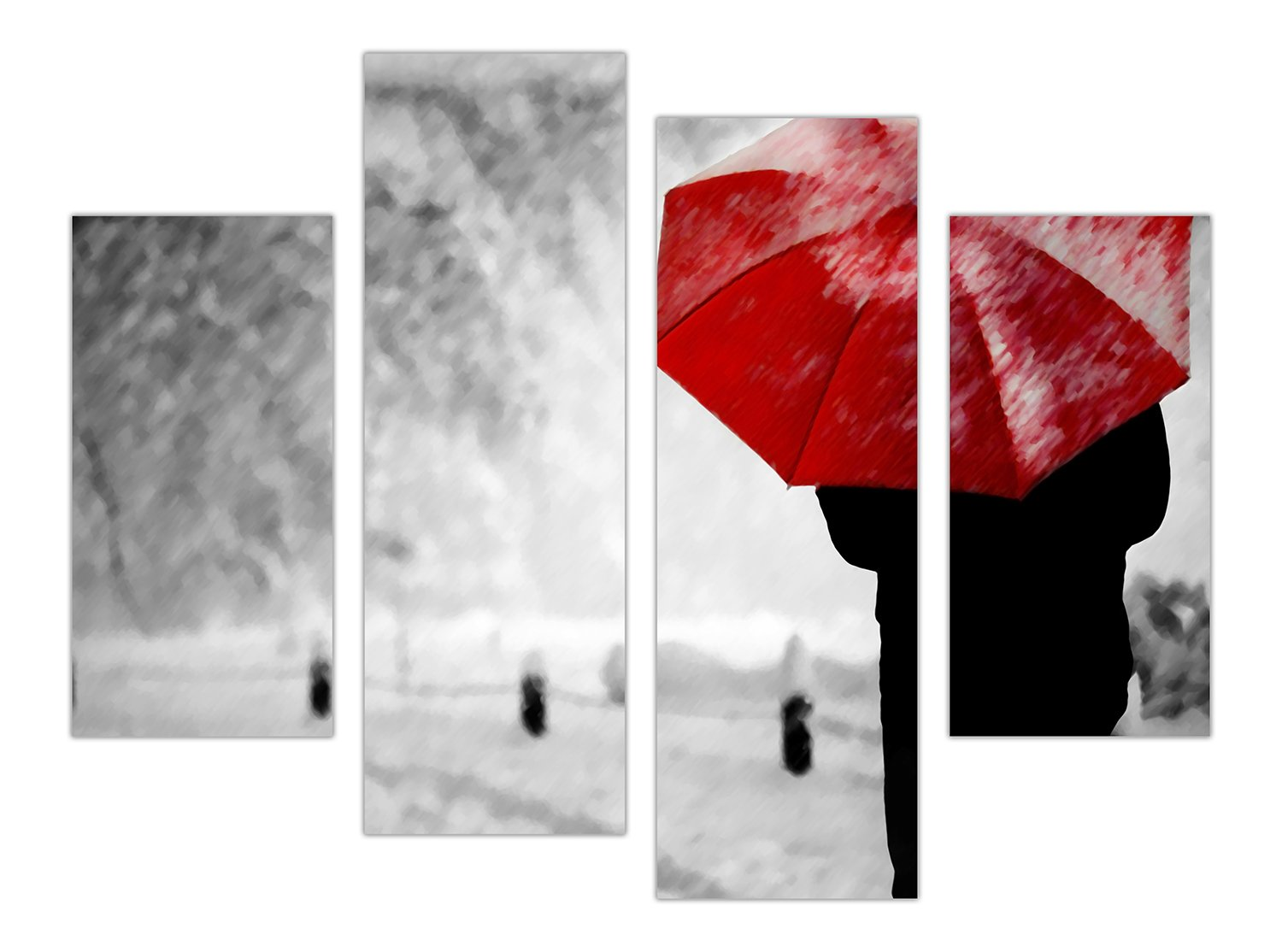 57ef9390098 EXTRA LARGE CANVAS PRINTS WALL ART ABSTRACT WOMAN HOLDING RED UMBRELLA IN  SNOW PICTURES PHOTO PRINTING HOME DÉCOR PRINT ROOM DECORATION PICTURES 4  PIECE 35