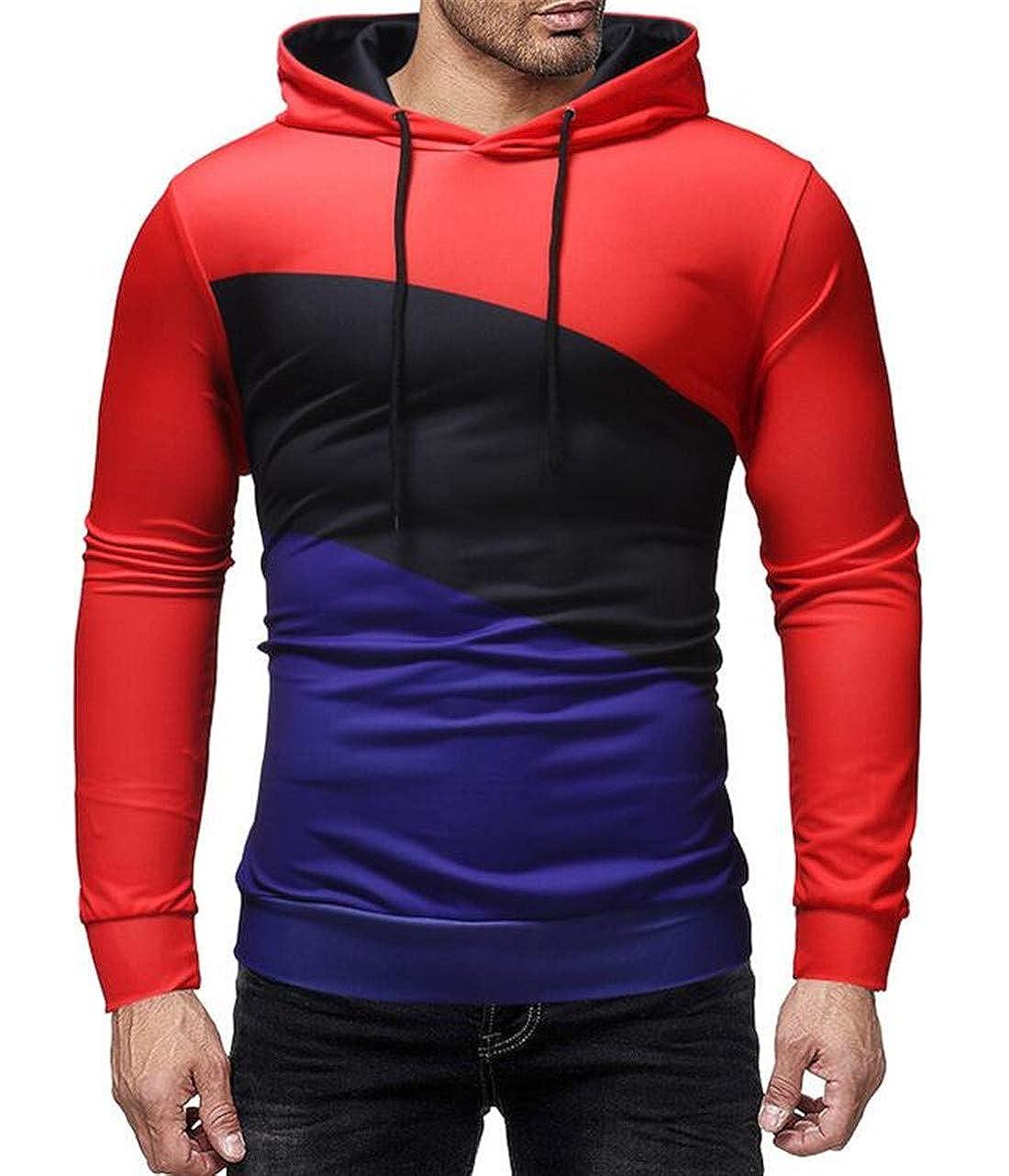 UUYUK Men Winter Slim Fit Contrast Color Pullover Hooded Sweatshirt