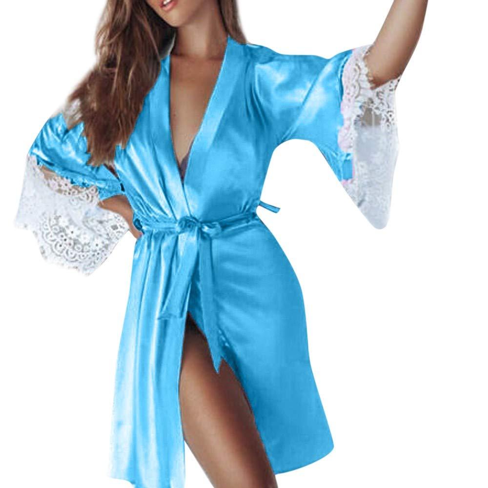 Ropa de Noche Suave de Las Mujeres, ❤ Absolute Kimono de Seda Sexy Vestirse Babydoll Encaje Lencería Cinturón Traje de baño Ropa de Dormir Pijamas: ...