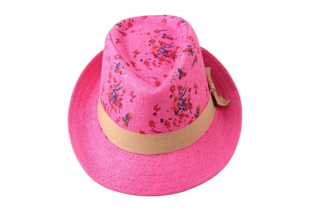 Dantiya Kids' 5 Colors Flora Straw Fedoras Travel Hats Cap Rose
