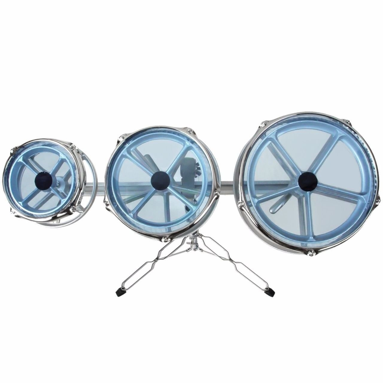 GP Percussion RT68 Tunable Roto Tom Drum Set with Adjustable Double Braced Floor Stand, Adjustable Track, Plated Counterhoop, Drum Key, and Drumsticks - Quick Pitch Shift Drums by WJM (Image #2)