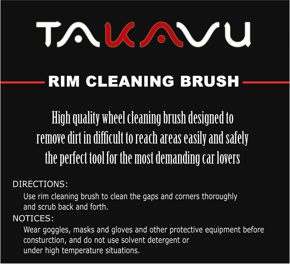 TAKAVU Master Wheel Brush Car Wheel Brush Rim Tire Detail Brush,Multipurpose use for Wheels,Rims,Exhaust Tips,Motorcycles Easy Reach Wheel and Rim Detailing Brush 18 Long Soft Bristle