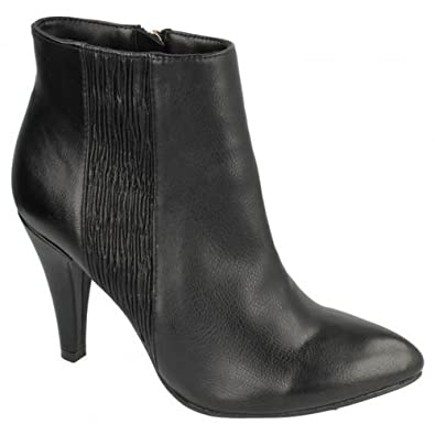 Spot on Damen Stiefel mit Absatz und Reißverschluss (40 EU) (Schwarz) vXjFJ5n
