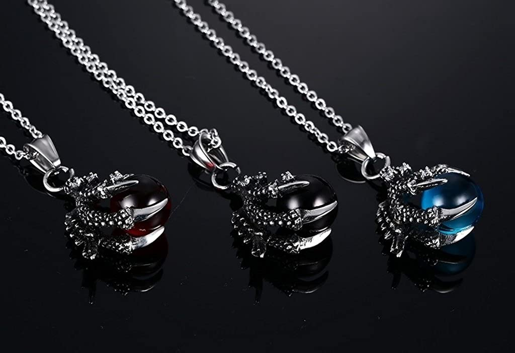 Bishilin Stainless Steel Vintage Dragon Claw Blue Agate Ball Pendant Necklace Red