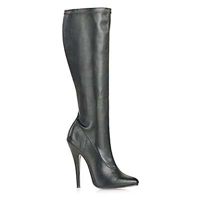 61f71522ba5 5 Inch Sexy High Heel Knee High Boot Pointed Toe Stretch Black Stretch Poly