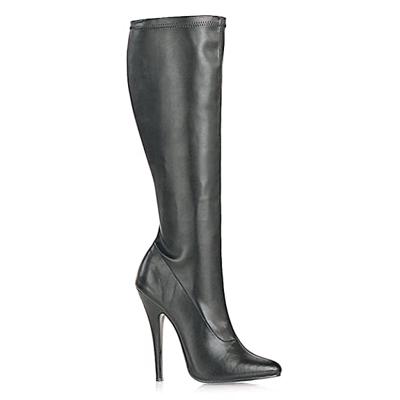 cc75f3bcbec15 Amazon.com | 5 Inch Sexy High Heel Knee High Boot Pointed Toe Stretch Black  Stretch Poly | Knee-High