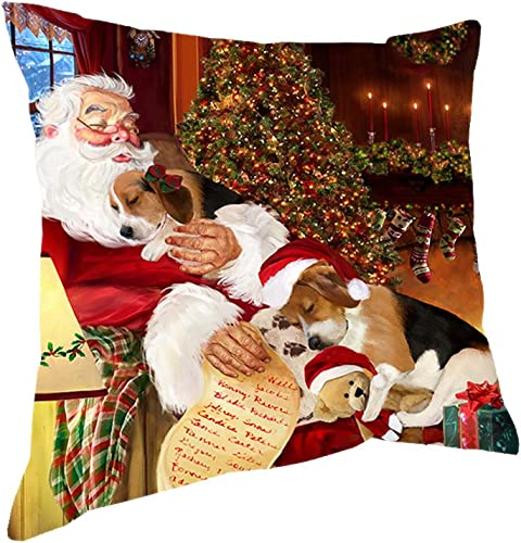 Doggie of the Day Happy Holidays with Santa Sleeping with Beagle Dogs Christmas Pillow 18×18