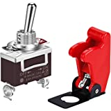 DaierTek Safety Cover Toggle Switch Guard Heavy Duty with Red Aircraft Covered AC/DC 20A SPST ON-Off 2Pin for Car Truck Auto