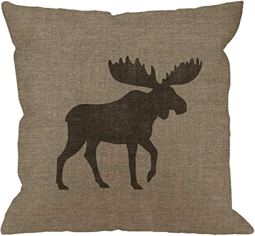 Amazon Com Hgod Designs Animal Throw Pillow Cushion Cover Rustic Moose Silhouette Burlap Cabin Cotton Linen Polyester Decorative Home Decor Sofa Couch Desk Chair Bedroom 18x18inch Square Throw Pillow Case Gray Home Kitchen