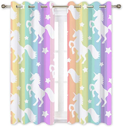 QH Colorful Rainbow Unicorn Decorative Window Curtain Panels Drapes Blackout Thermal Insulated Light Blocking 84L x 42W inches Each Panel Set of 2 Panel