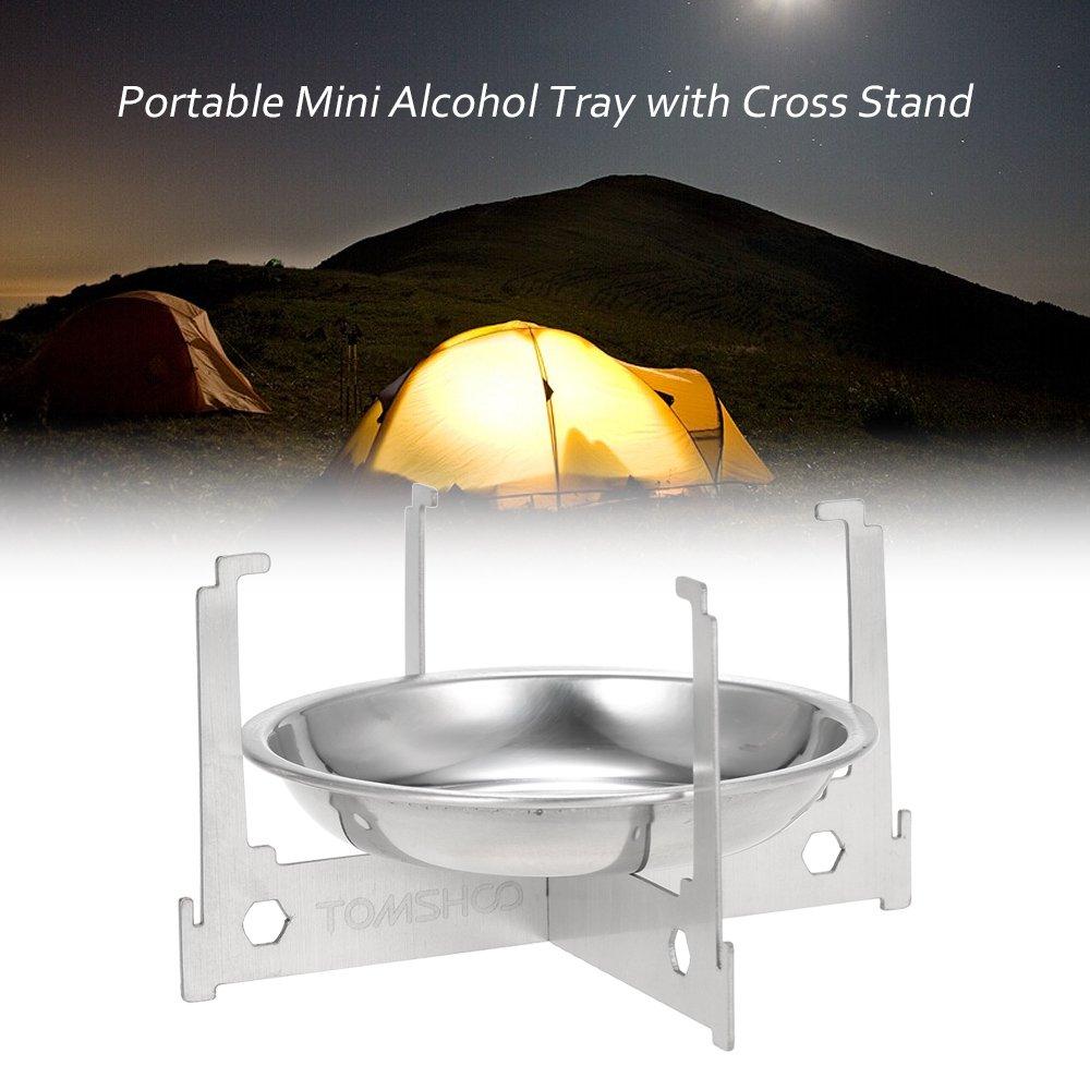 TOMSHOO Mini Estufa Portátil de Alcohol / Bandeja de Alcohol con Soporte Cruzado para Uso de Cocina, Campamento y Aire Libre: Amazon.es: Deportes y aire ...