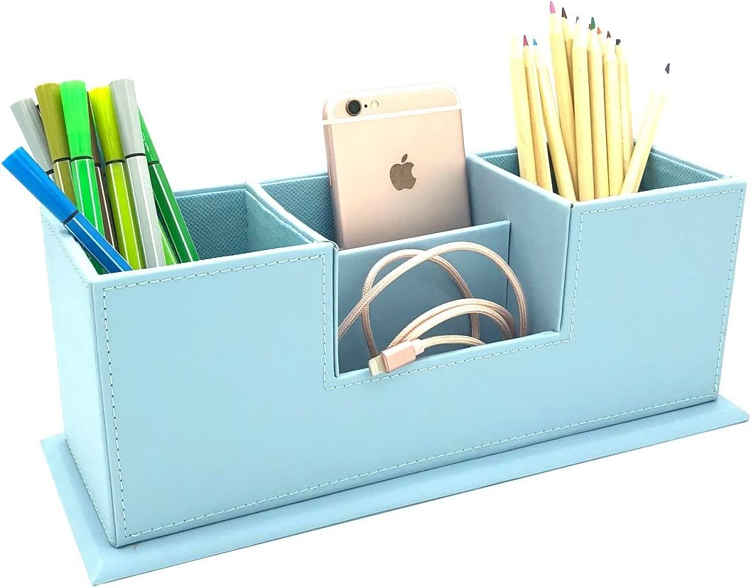 UnionBasic Dual Pen Holder - 4 Compartment Desk Organizer Card/Pen/Pencil/Mobile Phone Office Supplies Holder Collection Desktop Organizer (Blue)