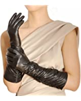 WARMEN Stylisch geraffte, ellbogenlange Abendhandschuhe aus Leder für Damen
