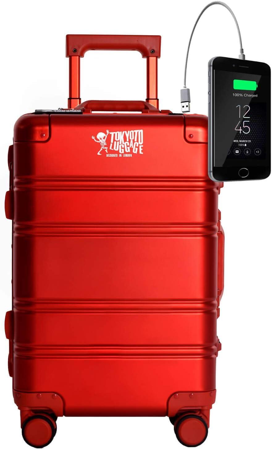 TOKYOTO - Maleta de Cabina 100% Aluminio Puro Metálica Juvenil Ultraligera Equipaje de Mano con Cargador USB, 80000mAh, 55x40x20 cm | Trolley de Viaje Ryanair, Easyjet | Rígida Red Logo