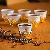 (选择您的 SET)6 X 土耳其风格茶杯,配有夹具盖和碟子套装,100 毫升(金色带支架) Mirra Gold 43219-19483