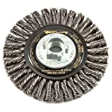 Forney 72846 Wire Wheel Brush, Industrial Pro Stringer Bead Twist Knot with 5/8-Inch-11 and M14-by-2.0 Multi Arbor, 4-Inch-by-.020-Inch