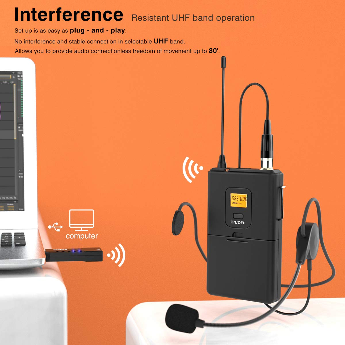 Wireless Microphones For Computerfifine Usb Mac Mini Mic Jack Wiring Microphone System Pc Macheadset Uhf With Receivertransmitter