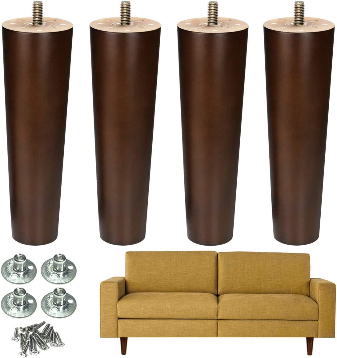 Furniture Leg Sofa Legs Wood 8 inch Midcentury Walnut Color Chair Legs Replacement 5/16 inch Bolt Set of 4