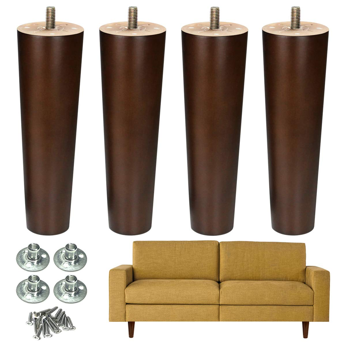 Furniture Leg Sofa Legs Wood 8 inch Midcentury Walnut Color Chair Legs Replacement 5/16 inch Bolt Set of 4 by AORYVIC