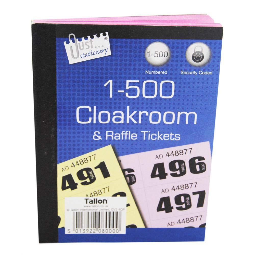 Just Stationery 1-500 Garderobe Ticket Verschiedene farben