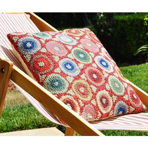 Hooked Coin - Be-You-tiful Home Coin Wool Hooked Pillow, Red