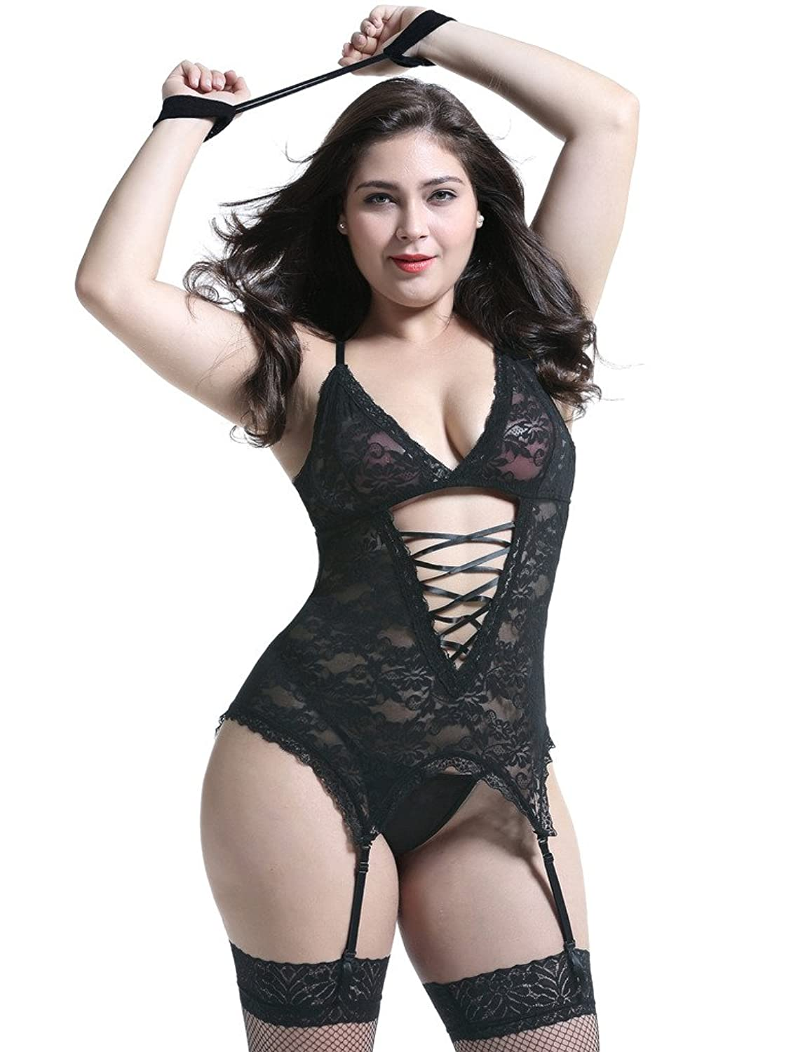 Anyou Plus Size Lingerie Sets Stretchy Lace Women Lingerie Chemise Nightwear with Hand-Cuff,G-String,Stockings