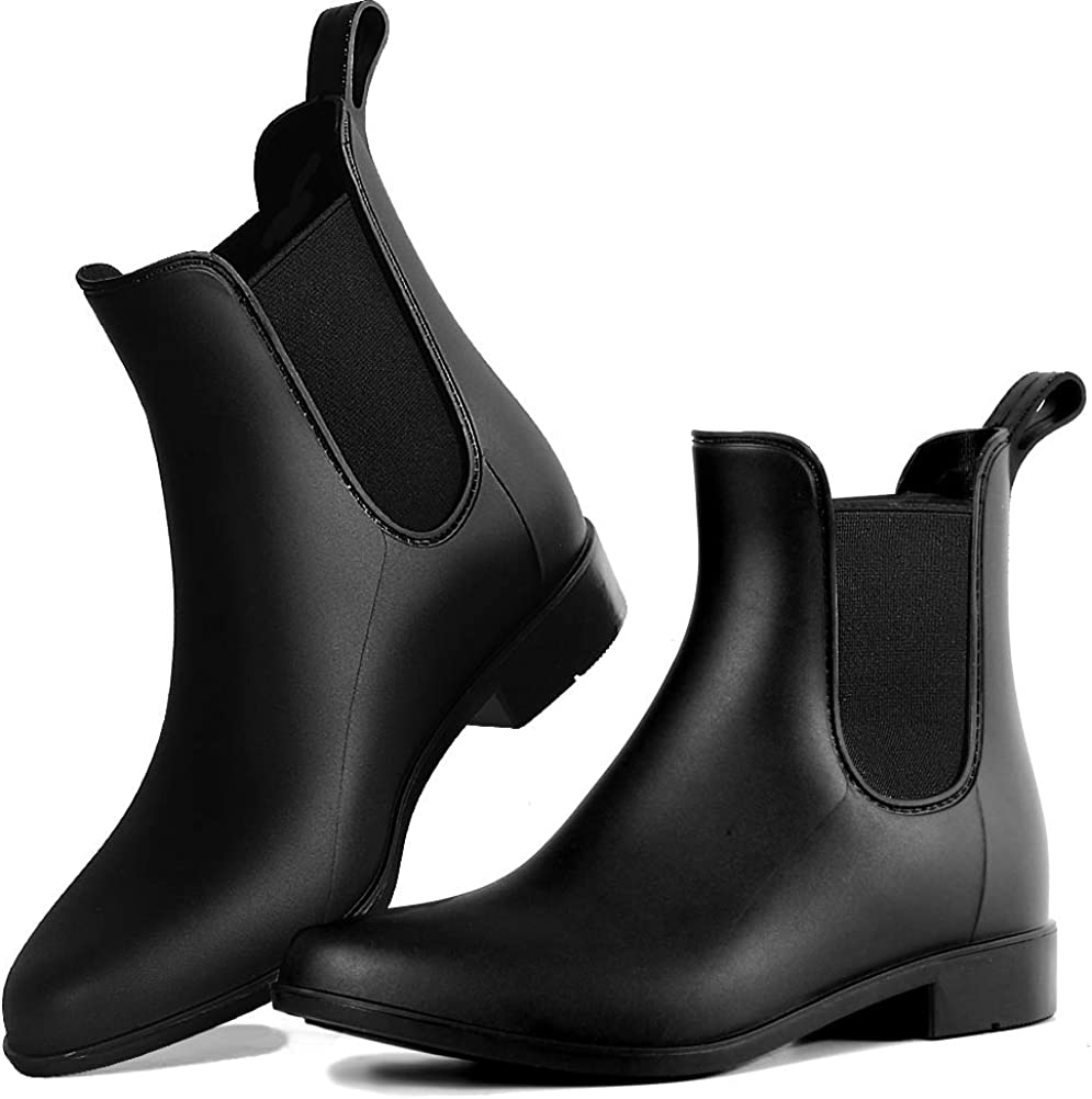 DAWAN Rain Boots for Women, Waterproof Chelsea Boots for Girl Comfortable Ankle Rainboots Short Garden Rain Shoes with Anti-Slip Rubber Sole