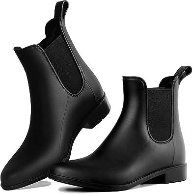 Amazon Com Dawan Rain Boots For Women Waterproof Chelsea Boots For Girl Comfortable Ankle Rainboots Short Garden Rain Shoes With Anti Slip Rubber Sole Rain Footwear