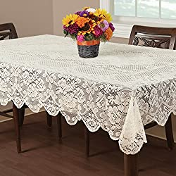 Essential Home Buckingham Lace Tablecloth Ivory 60 X 102 / Tablecloths Table D