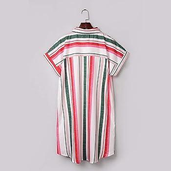 MERICAL Vestido de Camisa de Verano de Manga Corta a Rayas con Botones de Moda para Mujer(Multicolor, Small): Amazon.es: Ropa y accesorios