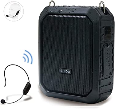 Wireless Voice Amplifier with UHF Mic Headset, 18W 4400mAh Rechargeable Bluetooth Loudspeaker Amp Powerful Mini Pa System Portable Waterproof Power ...
