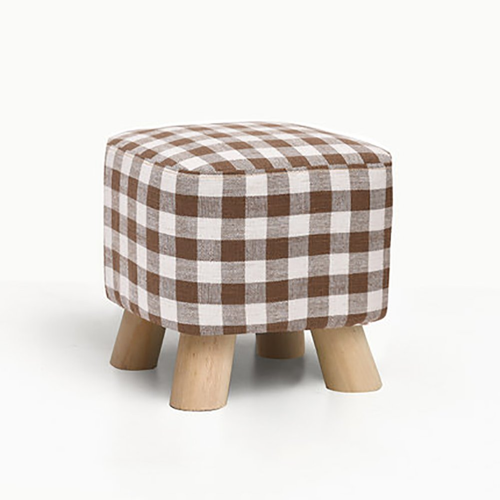 D&L Solid wood Square Footstool,Ottoman Pouffe Chair Stool Fabric Cover 4 legs And Removable Linen Cover-D L28xW28xH25cm