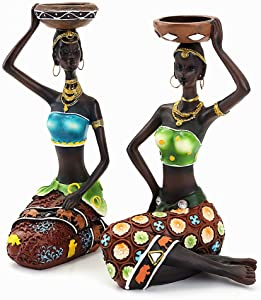 "2PACK African Figurines,8.5"" Women Decorative Sculptures Candle Holder Centerpieces for Dining Room Table Tribal Lady Statue for Home Decor Western Art American Black Vintage Gift Doll Candleholder"