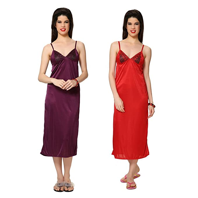 869d01b01f PIU Women's Satin Nighty/Soft & Silky/Combo of Purple & Red  Color/Roomwear/Honeymoon/Nighty (Pack of 2): Amazon.in: Clothing &  Accessories