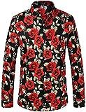 SSLR Men's Floral Button Down Casual Long Sleeve Shirt (X-Large, Black...