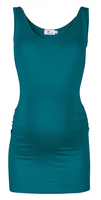 Happy Mama. Womens Maternity Vest Top Tee Tunic. Scoop Neck. Sleeveless. 792p pregtop_792