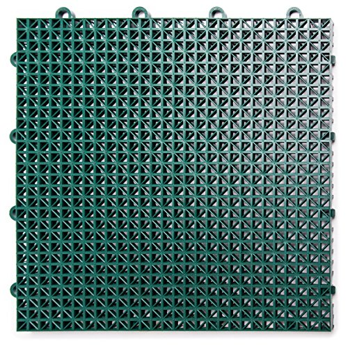 DuraGrid DT40EVGN Outdoor (40 Pack) Modular Interlocking Multi-Use Deck Tile, Evergreen, Piece