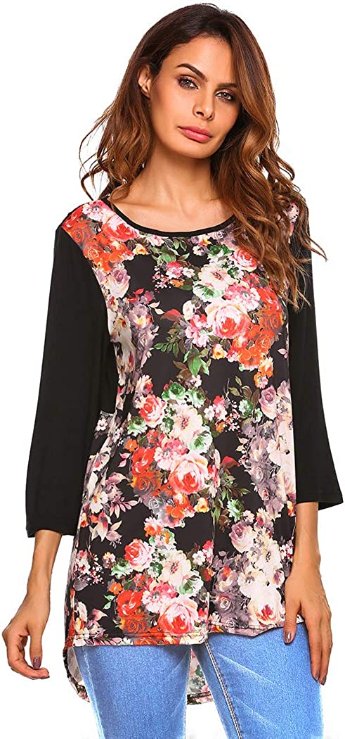 Meaneor Women Casual Floral Printed 3//4 Sleeve Asymmetrical Hem Blouse Tops
