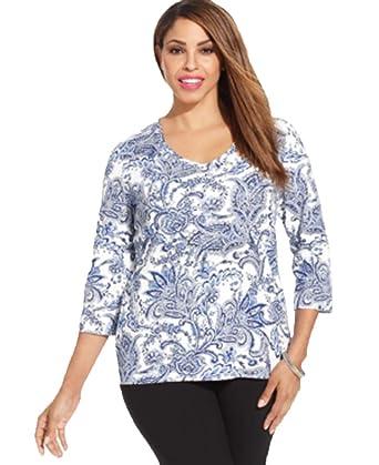 58d1955d1223f Karen Scott Plus Size Three-Quarter-Sleeve Paisley-Print Tee (Blue Notte