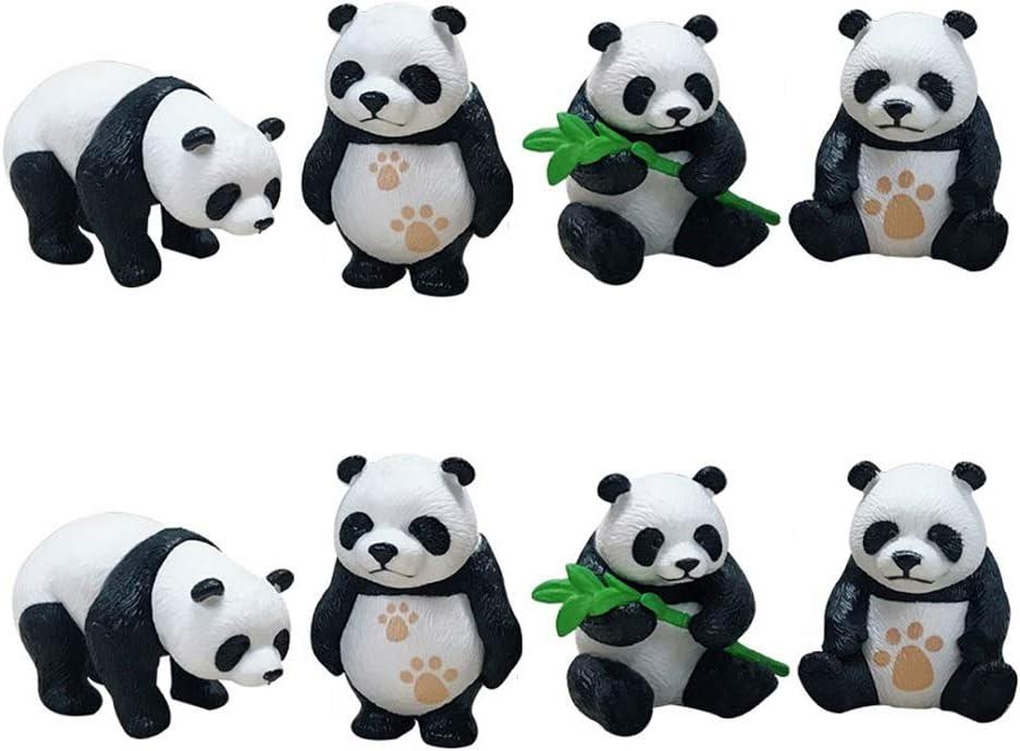 JANOU 8 Pcs Mini Panda Micro Landscape Miniature Decoration Resin Figurine Plant Pot Fairy Garden Ornament