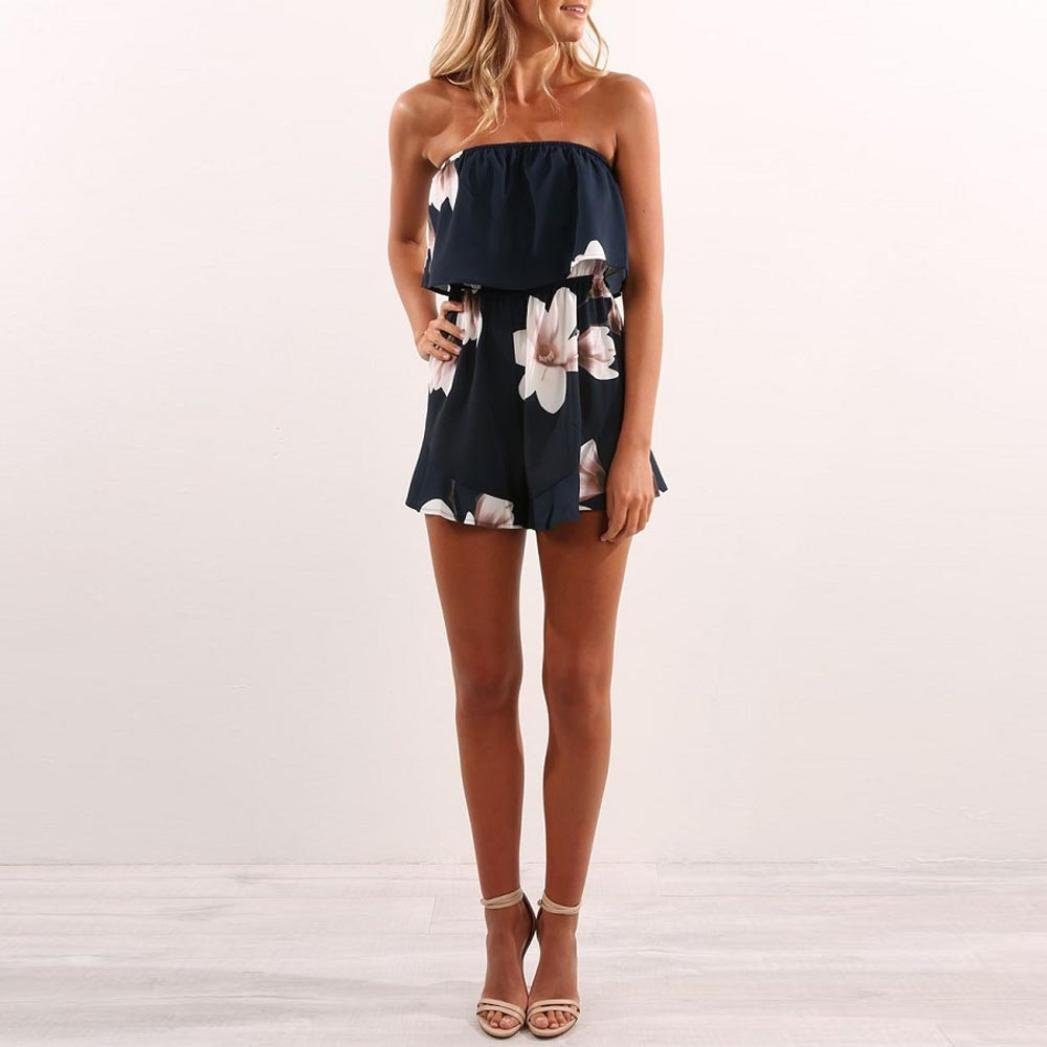 a1745c7f22bd Amazon.com  Sunward Women s Sexy Summer Strapless Full Floral Print Ladies  Shorts Holiday Jumpsuit Rompers  Clothing